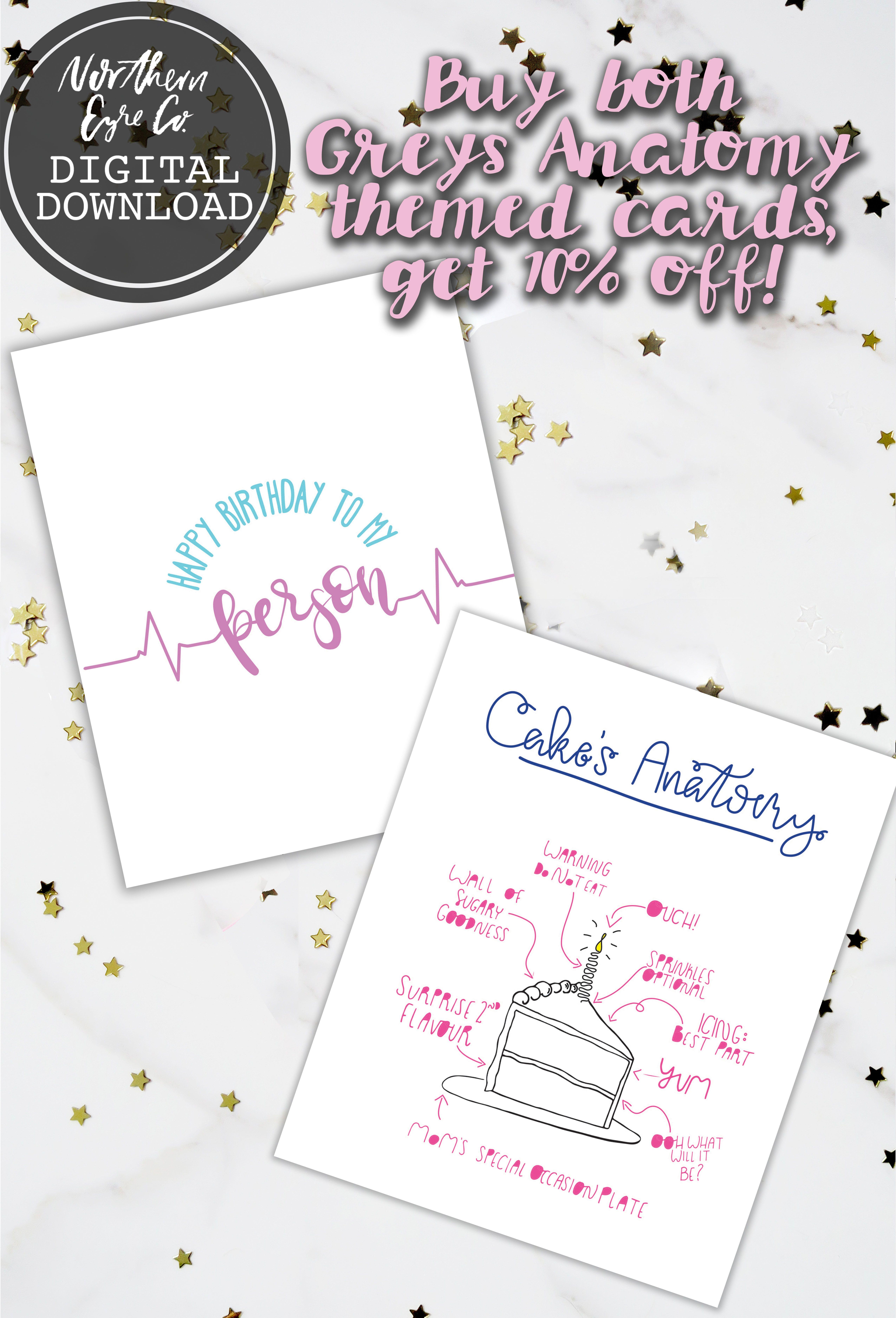 Printable Birthday Card Sale By Northern Eyre Co Etsy Shop Birthdaycards Cake Meredithgrey Greysanatomy Youremyperson