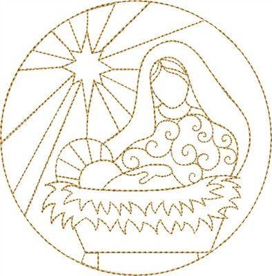 dibujo circular con María y el Niño .Lindo para un cuadrito. Free embroidery. Nativity Mary & Jesus embroidery design
