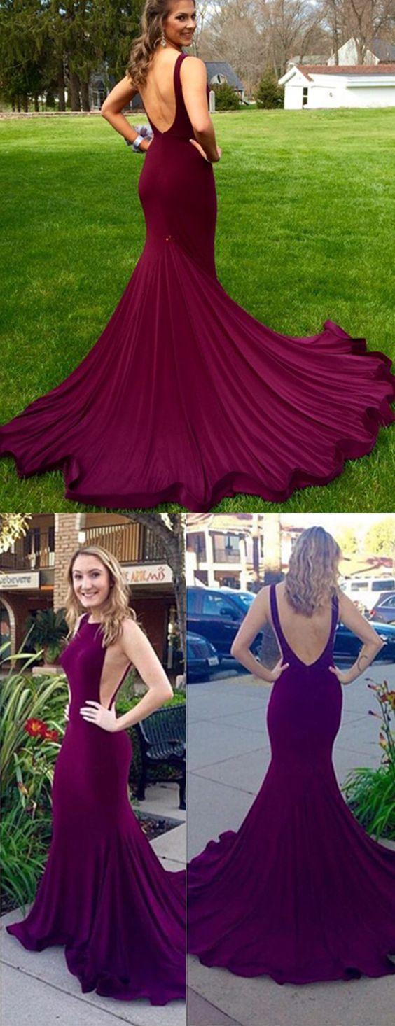 Purple Long Prom Dress,2017 long evening dress, mermaid long evening dress, backless long homecoming dress, backless prom dress, mermaid prom Dress,long prom dress,evening dress