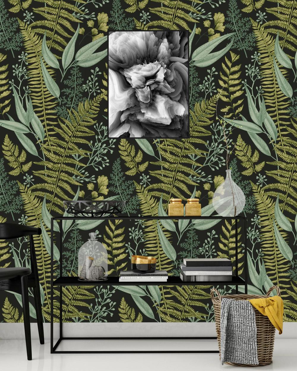 Stourbridge Botanical Ferns 100 L X 25 W Peel And Stick Wallpaper Panel Fern Wallpaper Nursery Mural Removable Wallpaper