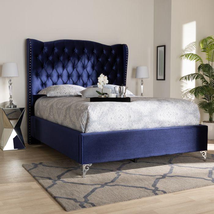 Best Baxton Studio Hanne Glam Luxe Purple Blue Velvet Fabric 400 x 300