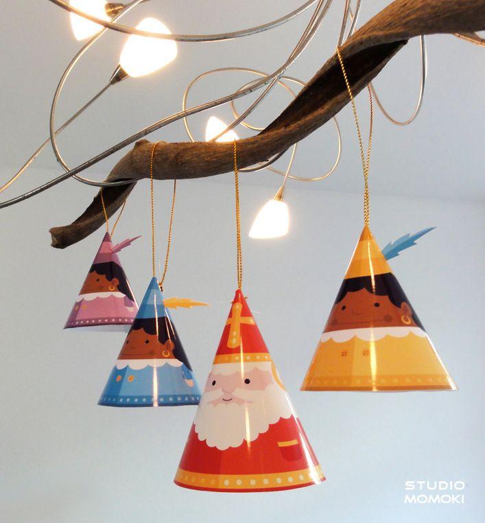 Sinterklaas versiering knutselen voor aan een tak - Hobby.blogo.nl #sinterklaasknutselen