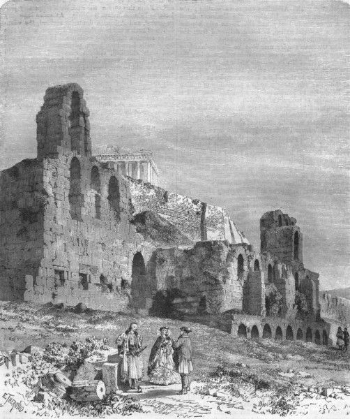Ancient Theatre of Herodes Atticus in Athens, 1871 / old print