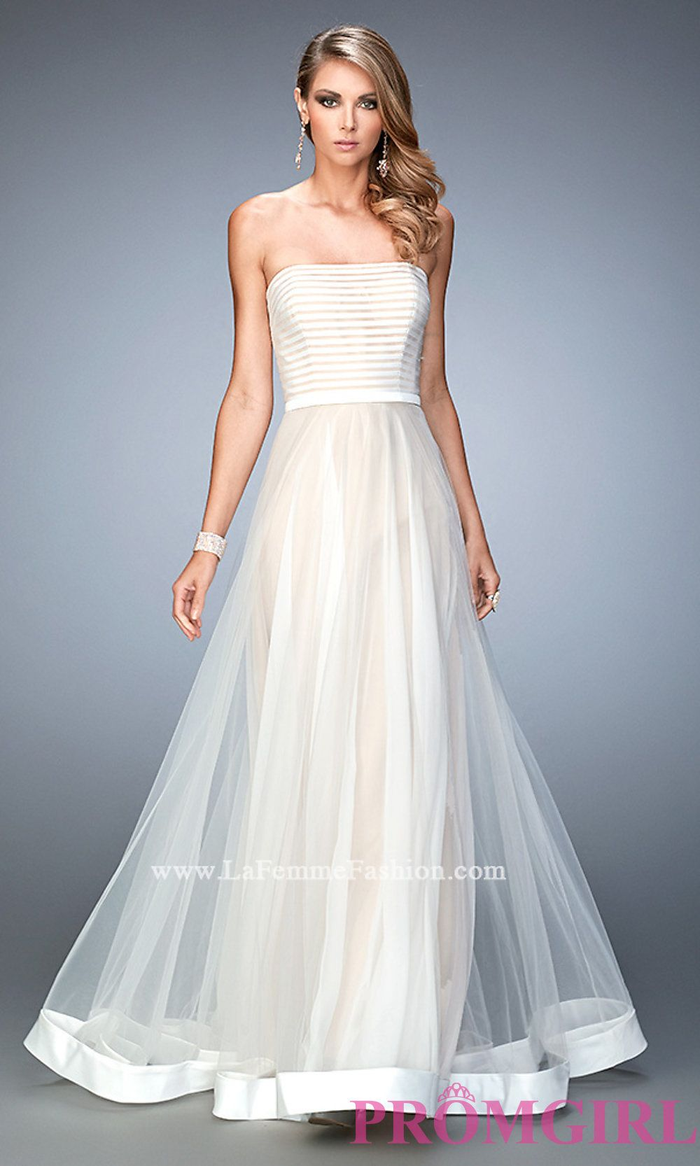 Long strapless prom dress by la femme style lf dresses
