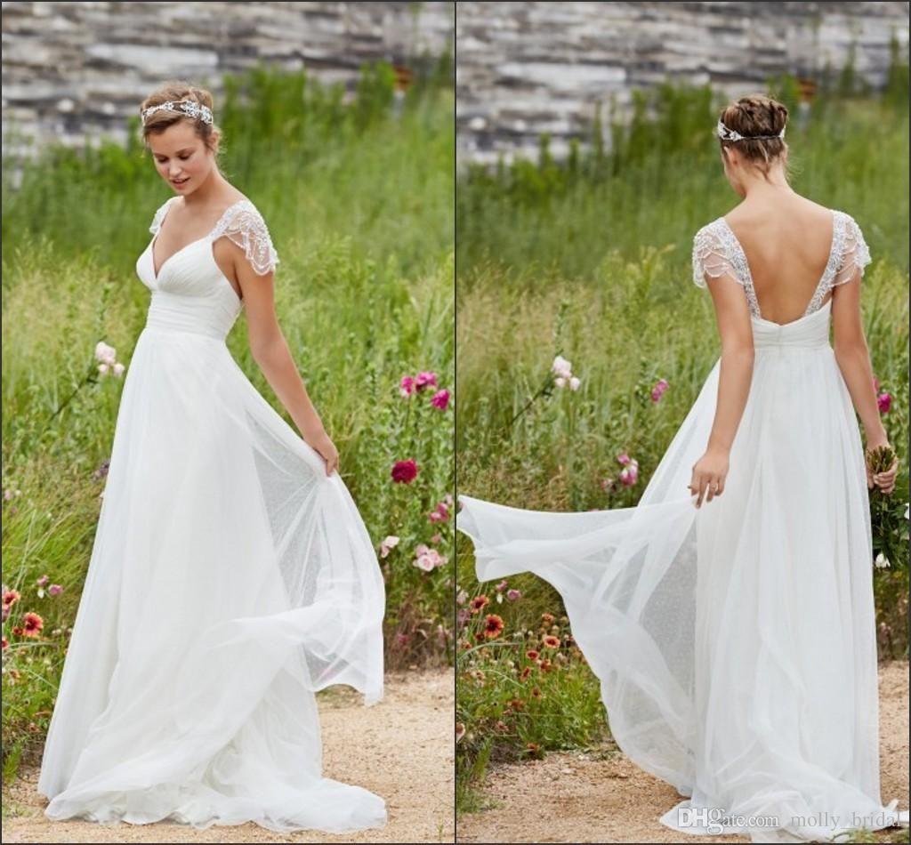 cheap wedding dresses chiffon cap sleeve beading beaded crystal