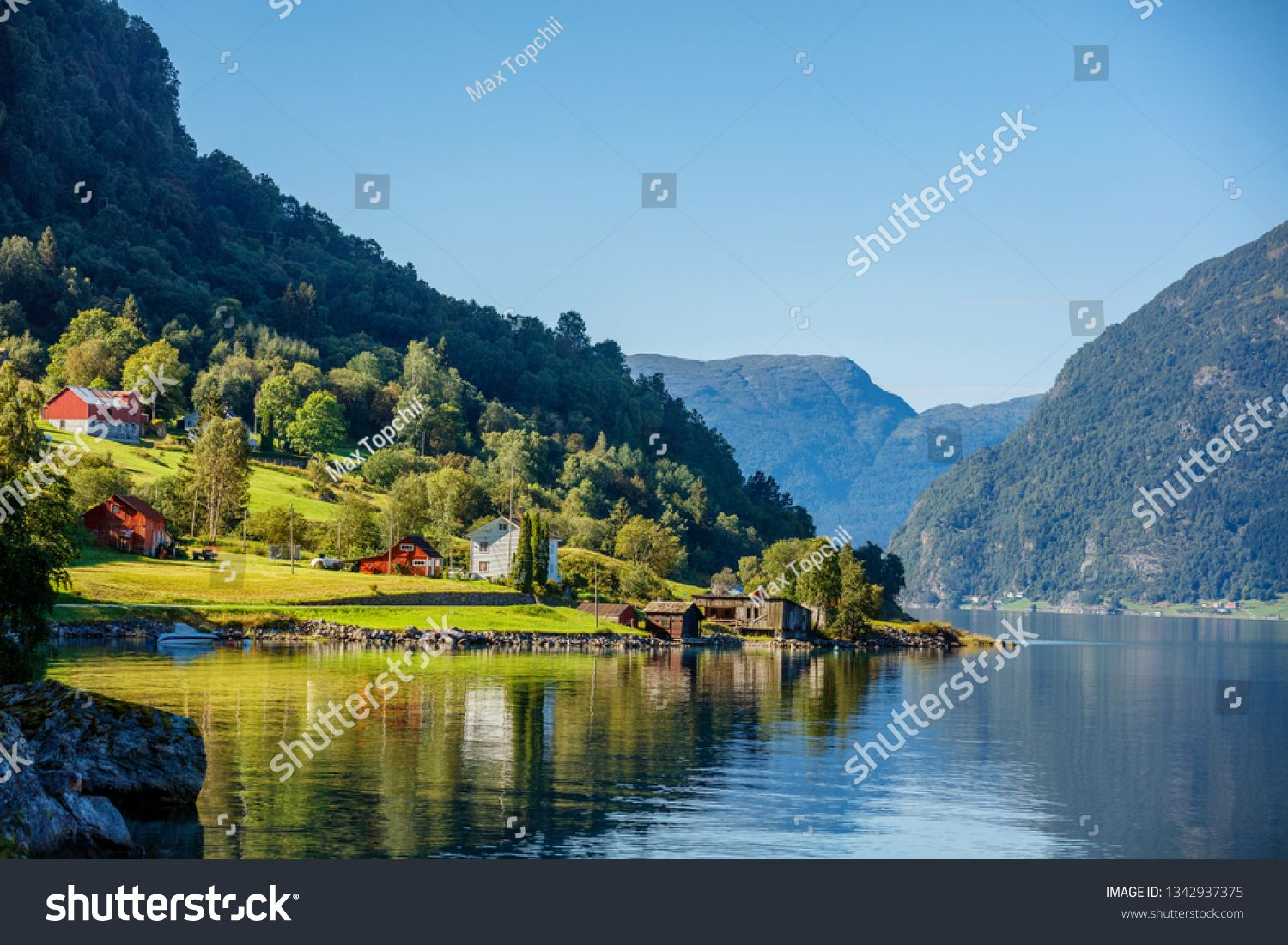 Amazing Nature View With Fjord And Mountain Beautiful Reflection Location Scandinavian Mountains Norway In 2020 Nature View Amazing Nature Beautiful Stock Photos