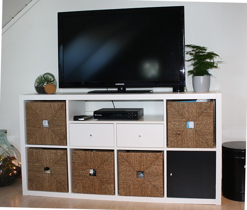 Ikea Kallax Shelf With Hack For Tv Bench Home Decor Organization
