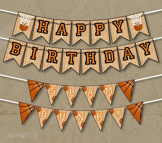 Basketball Party Happy Birthday Banners Decorations Printable Diy Instant Download In 2020 Birthday Banner Free Printable Happy Birthday Basketball Basketball Birthday Parties