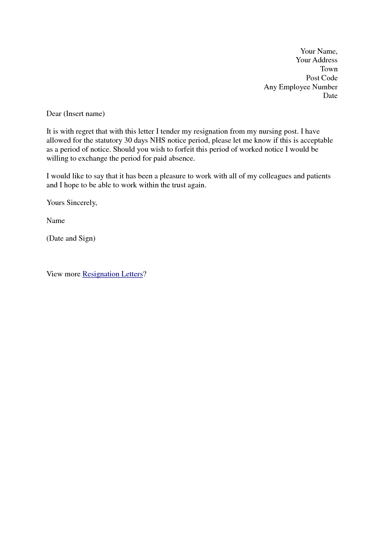 Best Free Professional Resignation Letter Samples Vntask And