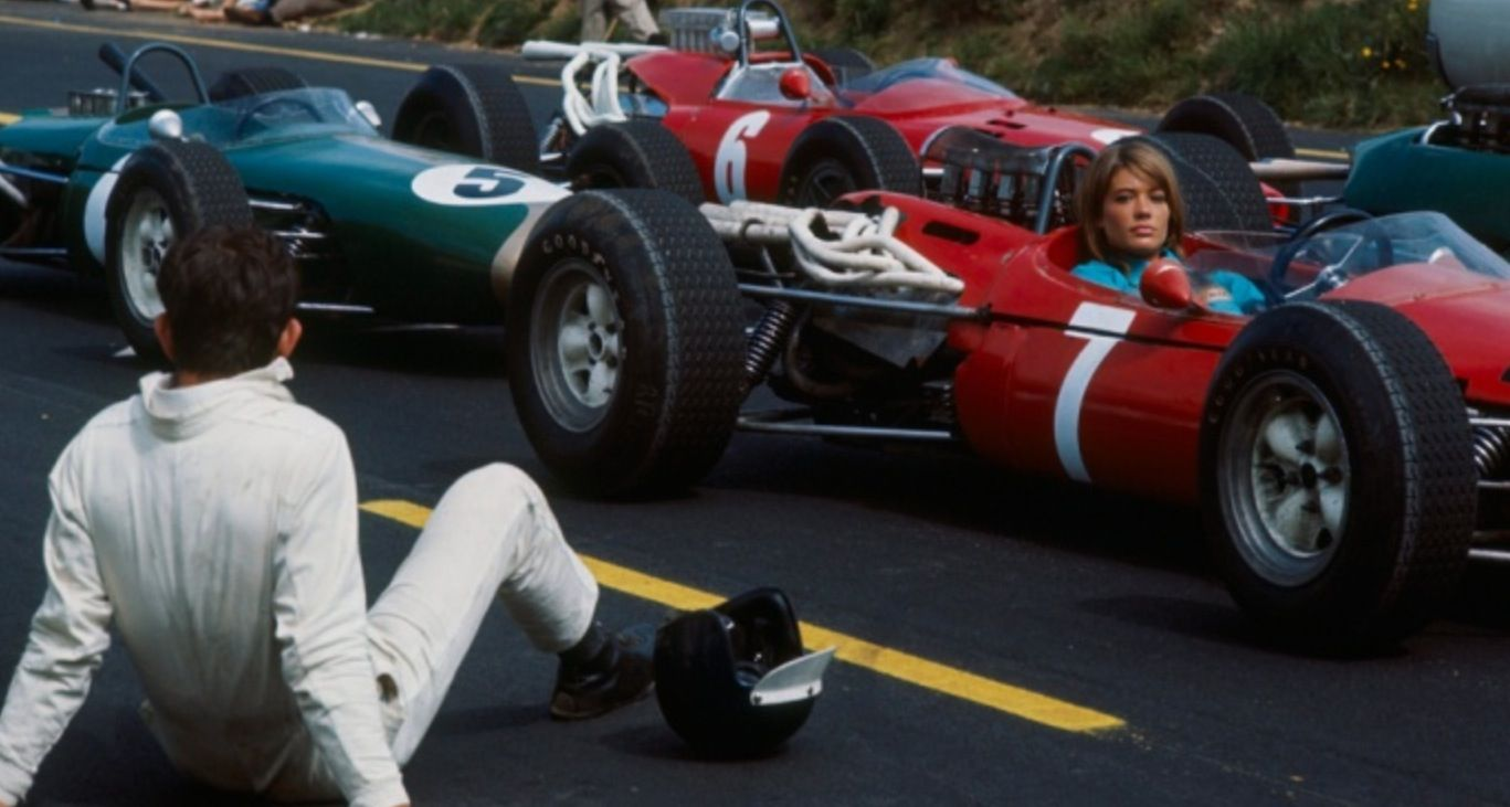 Francoise Hardy on the set of 'Grand Prix' (unattributed)...