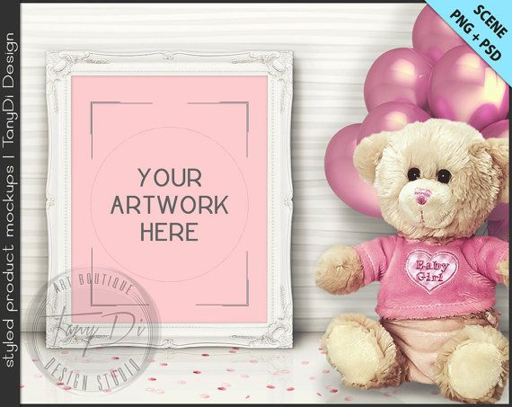 It\'s a Girl | Nursery Table Teddy Bear Pink Balloons Styling | 8 PNG ...