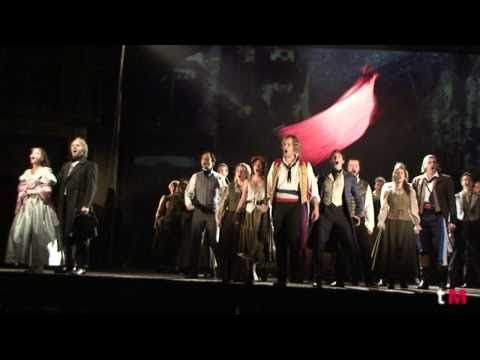 """""""Sale el Sol"""" -- A great video of the Madrid 2011 cast of Los Miserables, singing their version of """"One Day More.""""  This was the first show I saw with the new staging, and it was beautiful!  Also, Daniel Diges IS Enjolras."""