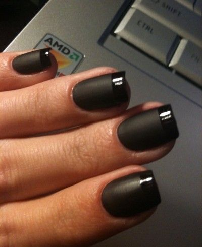black matte with shine tip fingernails