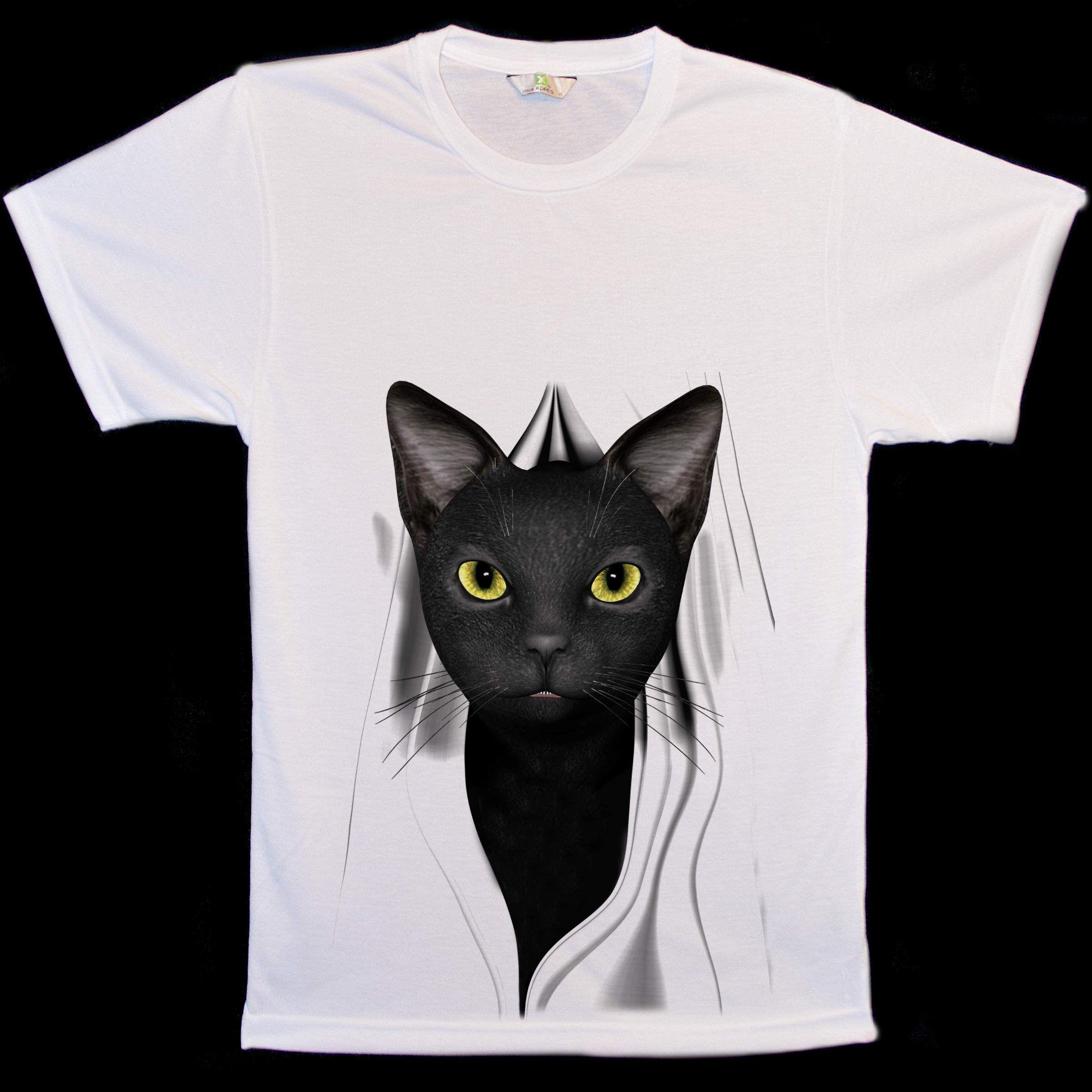 Animal Face Black Cat Peep T Shirts