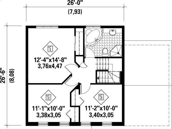 Plano-planta-alta-casa-clasica-de-dos-plantas-3-dormitorios-y-127 ...