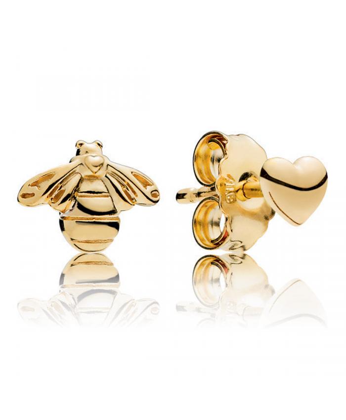 Pandora Shine Heart Bee Stud Earrings Brincos Pequenos Brincos Pandora Brincos