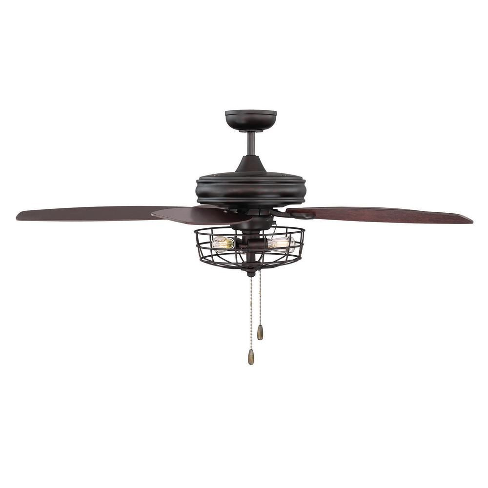 Filament Design 52 In Oil Rubbed Bronze Ceiling Fan With Metal Wire Cage Cli Sh027668 The Home Depot Caged Ceiling Fan Ceiling Fan Light Kit Ceiling Fan