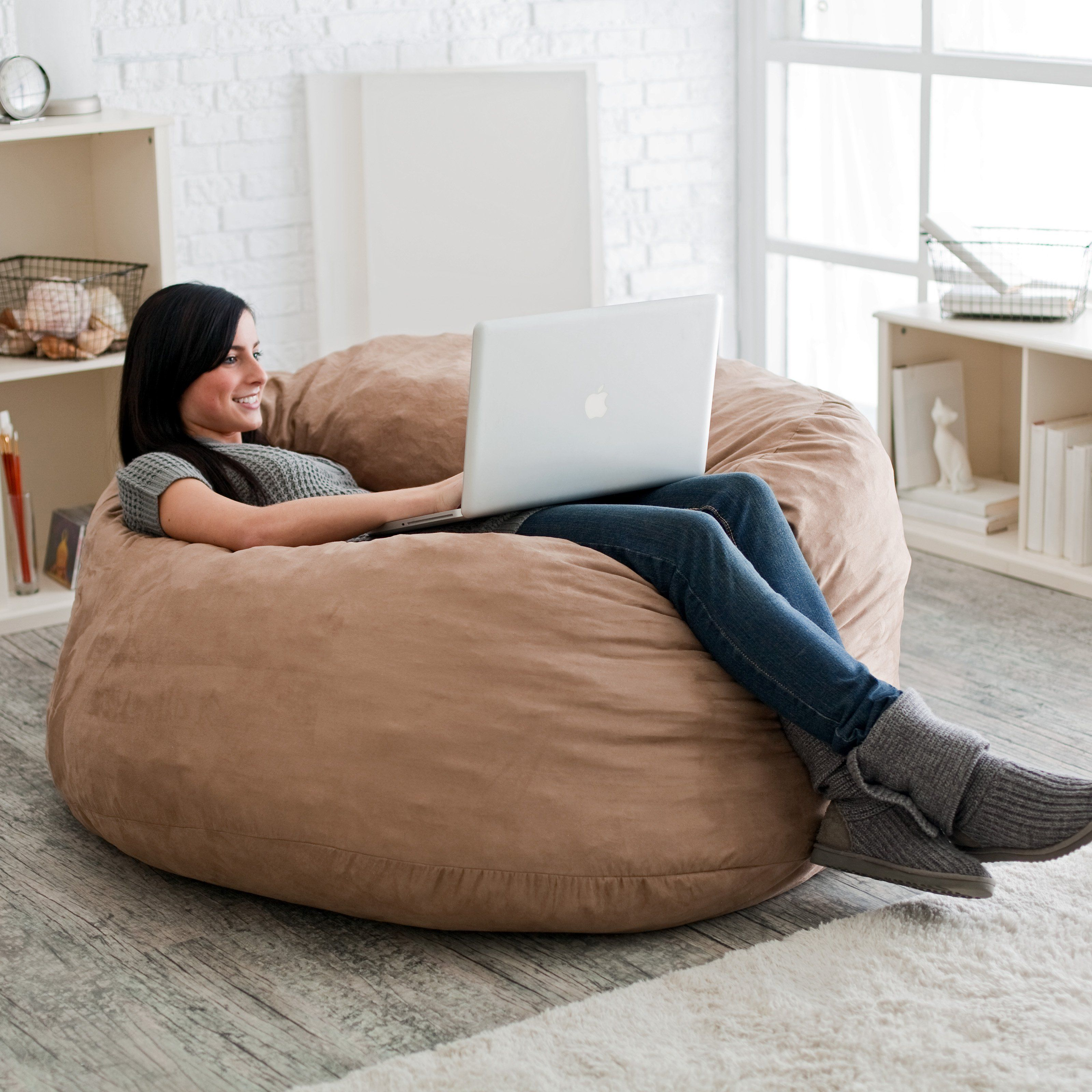 FUF 4 ft Micro Suede Bean Bag Sofa