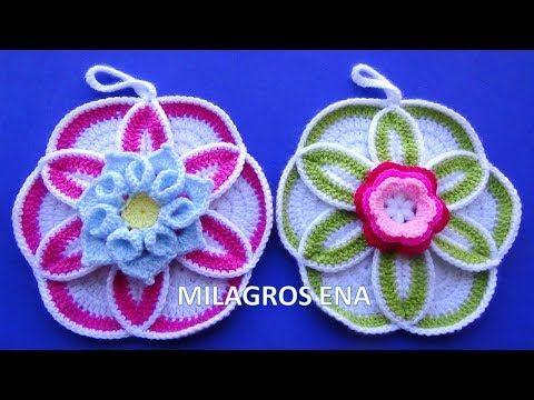 Flor A Crochet Para Adorno De Cocina O Agarraderas De Ollas Paso A