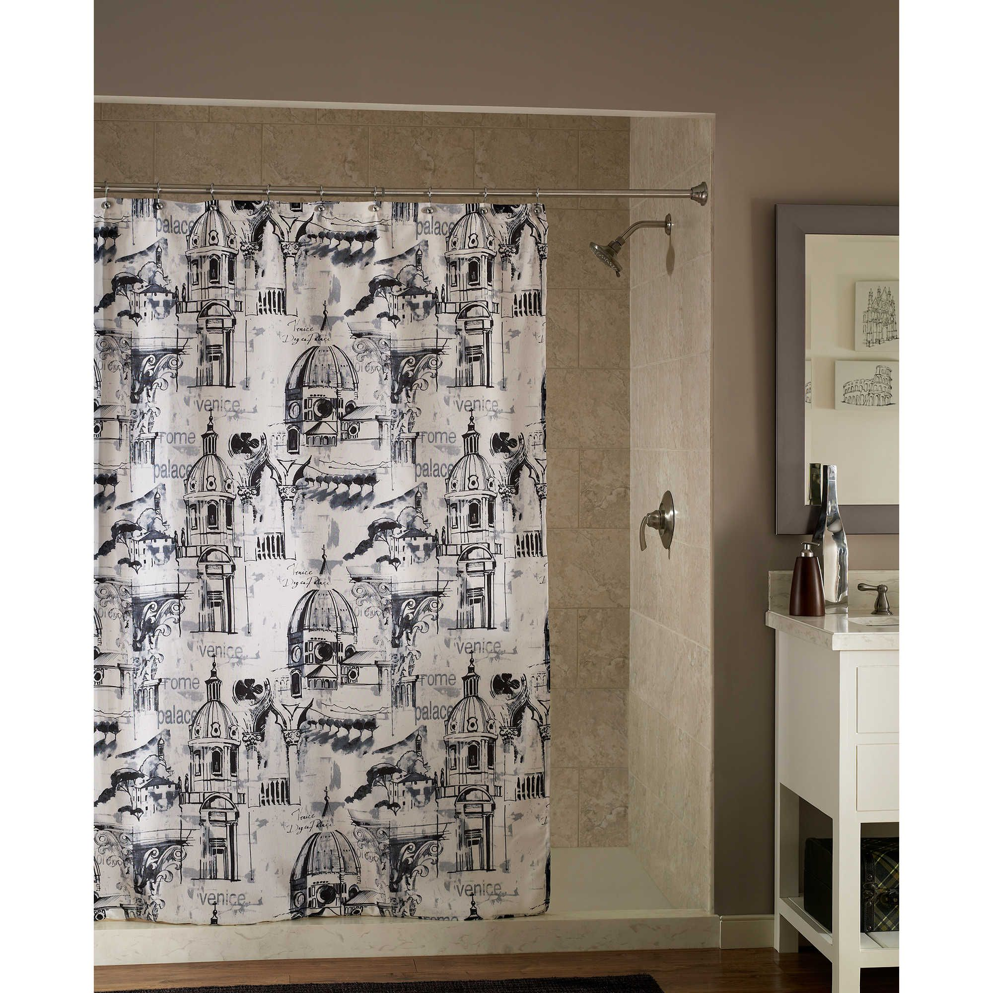 Travel Shower Curtain In Black White