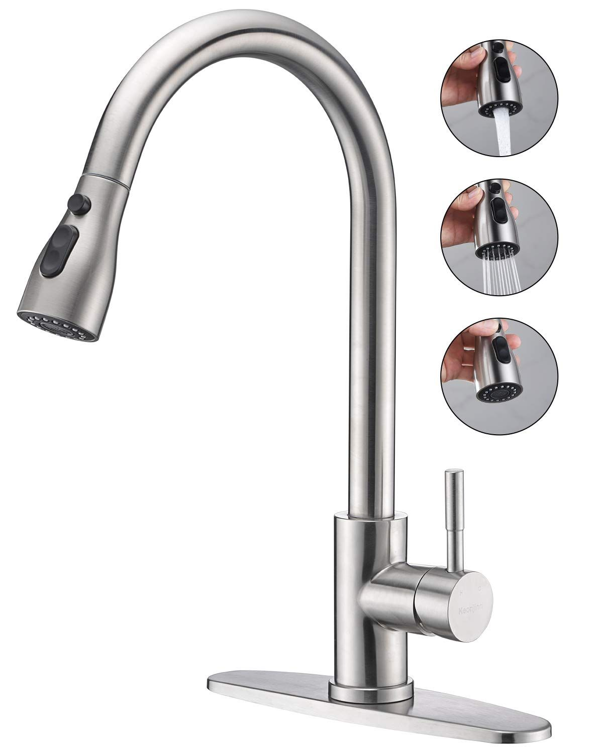 Keonjinn Stainless Steel Kitchen Faucets High Arc Single Handle