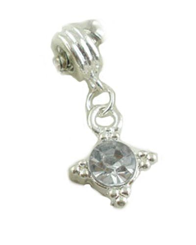 April Birthstone Clear Rhinestone Dangle European Bead Compatible for Most European Snake Chain Charm Bracelets