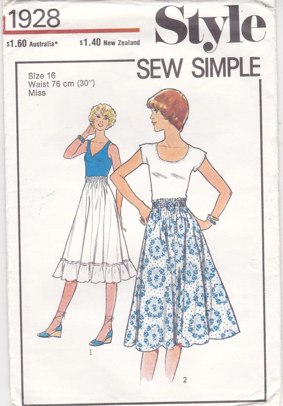 1970\'s Sewing Pattern Style No 1928 Skirt by jennylouvintage ...