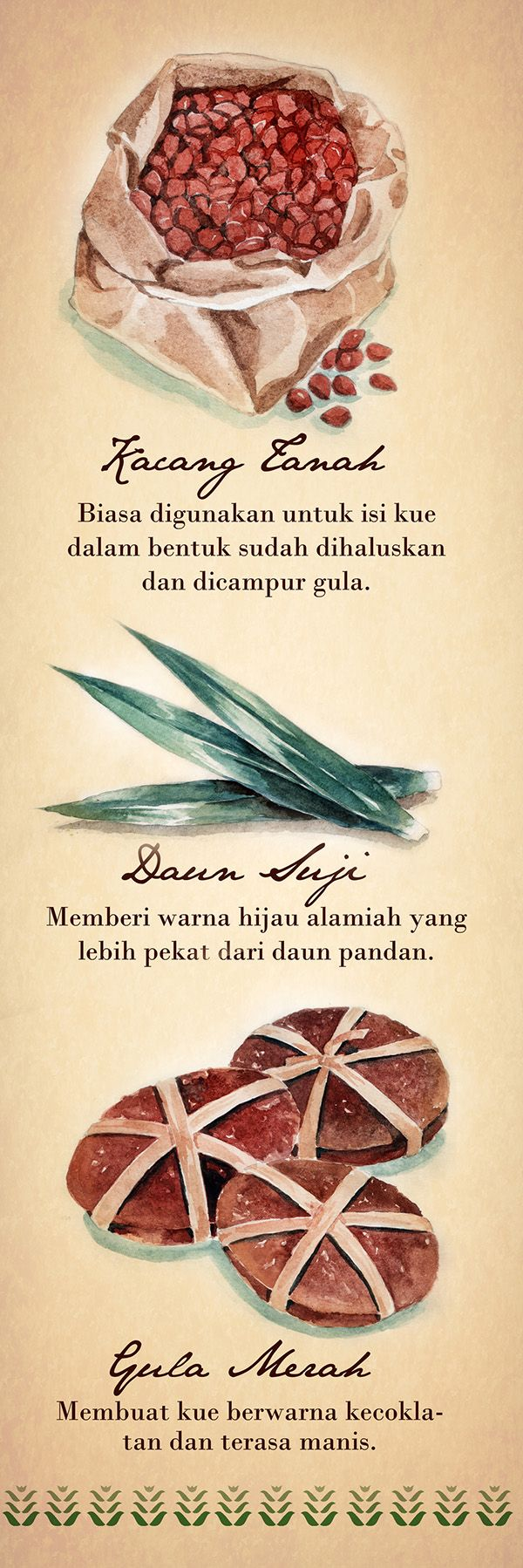 Watercolor illustrations of traditional Indonesian cakes