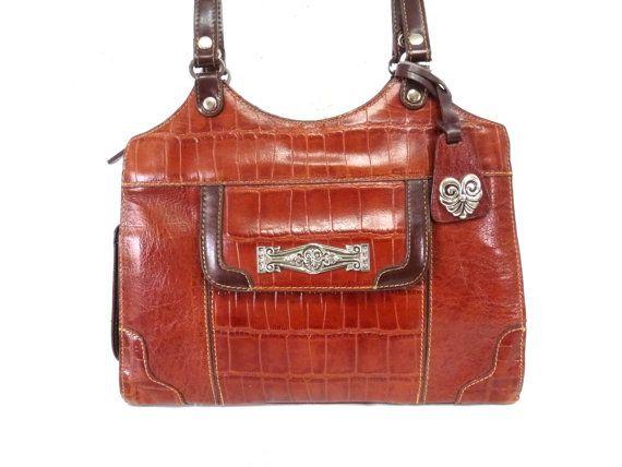 Vintage Tooled Brown Leather Handbag Authentic Satchel Shoulder Bag MC
