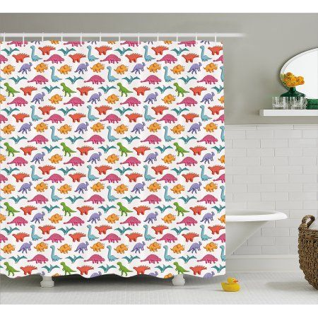Buy Dinosaur Shower Curtain, Variety Of Dinosaurs In Colorful Cartoon Style  Cute Archeology Pattern For Kids, Fabric Bathroom Set Wiu2026 | Pinterest