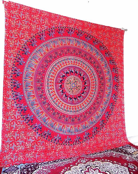 Pink Wall Tapestry large pink mandala tapestry, bohemian hippie wall hanging, hippy