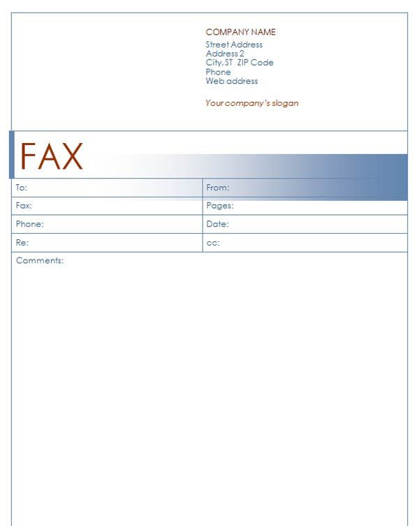 Fax Cover Sheet Template  Fax Cover Sheet With Blue Design  Stuff