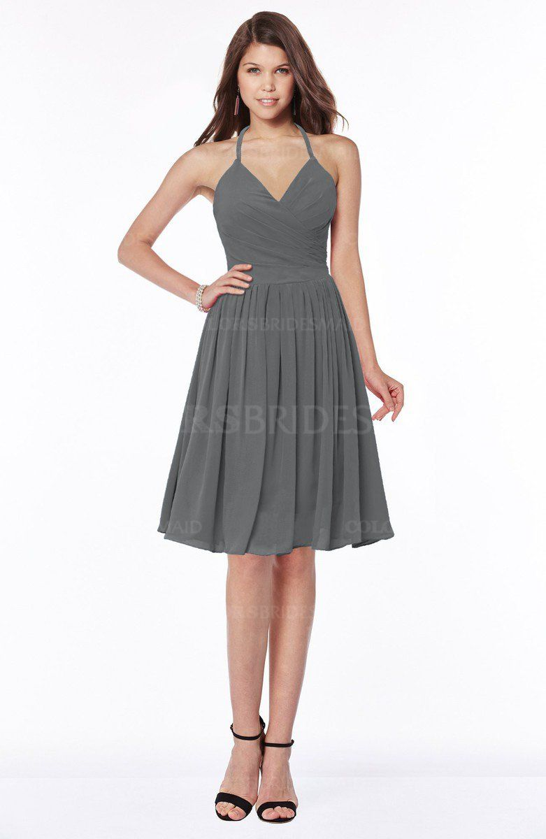 Grey traditional halter sleeveless chiffon knee length bridesmaid