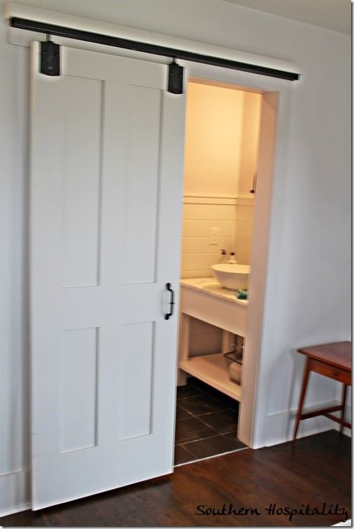 Charmant Barndoor, Would Be A Great Solution To Our Powder Room Door Opening In · Bathroom  Barn ...