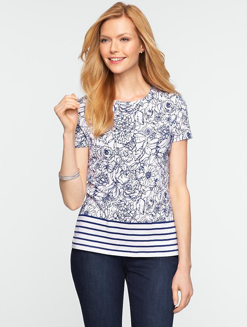 Talbots - Sketched Floral Stripe Tee | New Arrivals | Misses