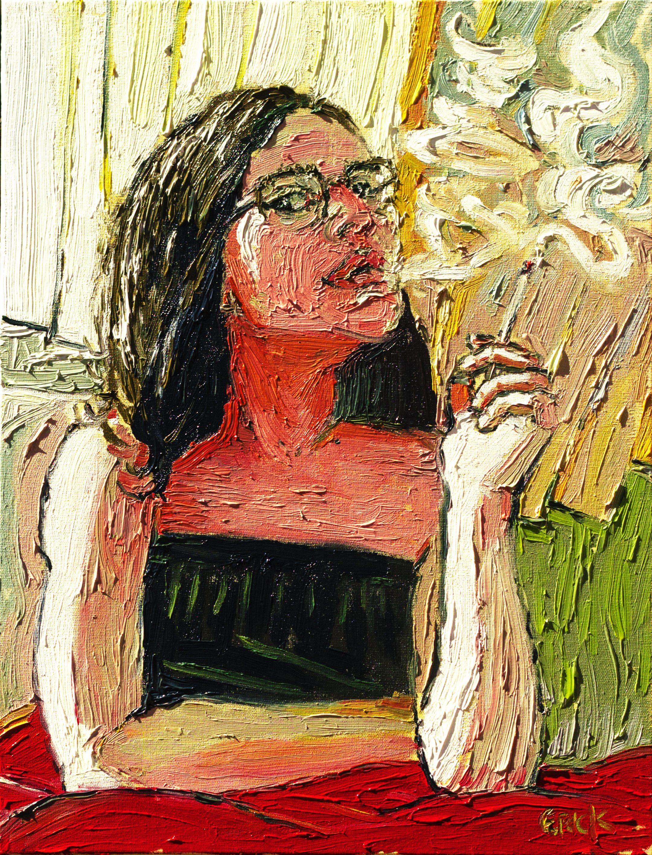 "Erick Alves ""Retrato de Grazi"" (2017) - óleo sobre tela 40x30cm."