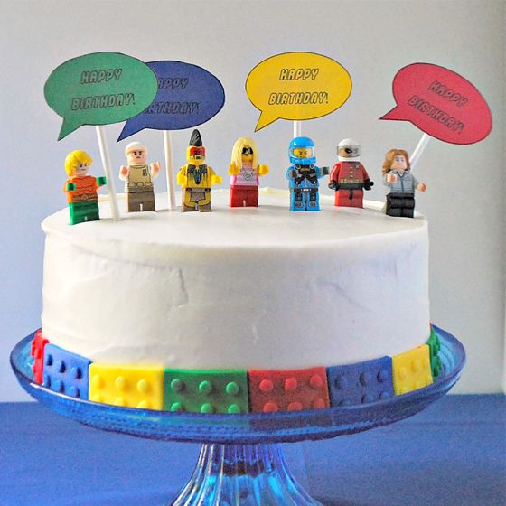 Minifigure Birthday Cake Lego Party Easy Lego Cake Lego