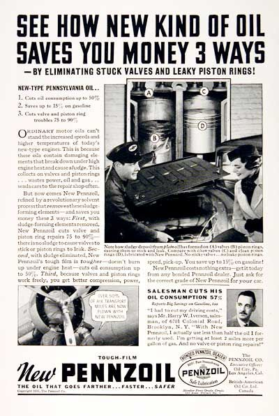 1935 Pennzoil vintage ad. New kind of oil eliminates stuck valves and leaky piston rings. Over 50% of air transport miles are flown with new Pennzoil!