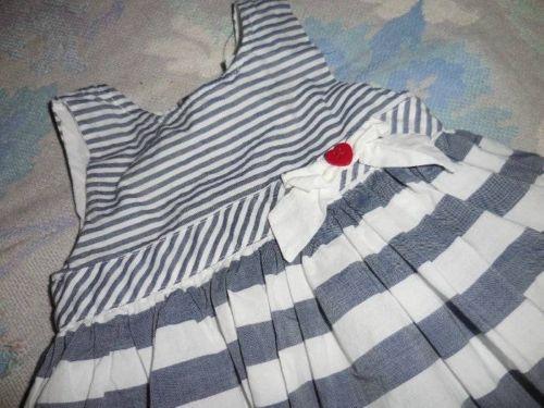 euc Little Me blue white stripe tulle hem dress baby girl 24 m