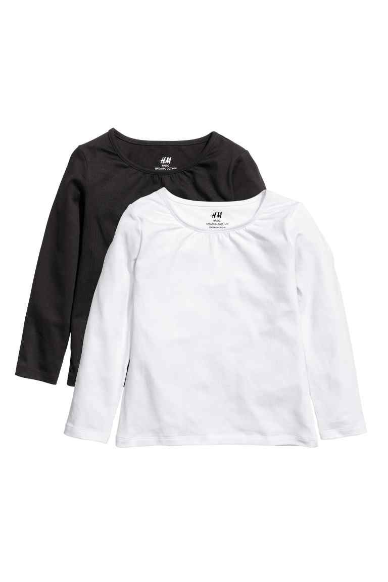 4bc0aa5703e6d 2-pack jersey tops - White Black - Kids