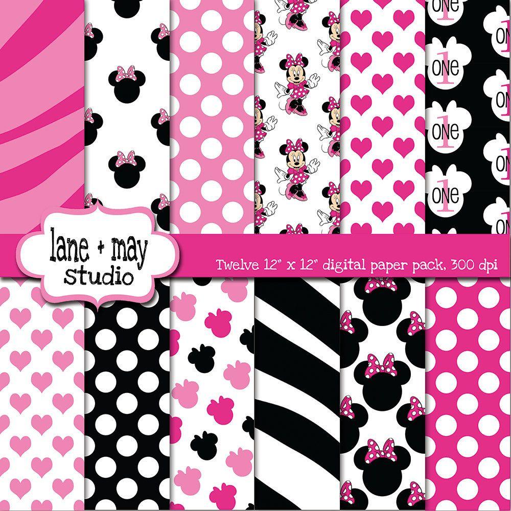 Scrapbook paper disney - Pink And Black Minnie Mouse Digital Scrapbook Papers