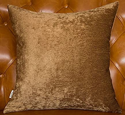 """TangDepot Handmade Solid Heavy Chenille Decorative Throw Pillow Covers, Pillow Shams, Square Pillow Covers, Cushion Covers, Pillowcase - (14""""x14"""", Light Brown)"""