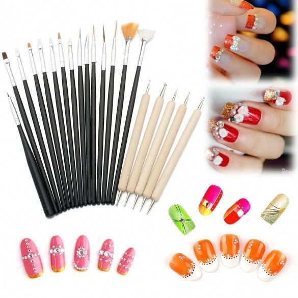 20pc Uv Gel Acrylic Nail Art Tips Design Brush Set 15 Nail Art
