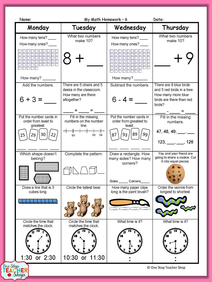 1st Grade Math Spiral Review | 1st Grade Math Homework | 1st Grade ...