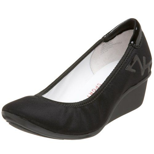These sporty AK by Anne Klein Dax wedges will quickly become your go-to shoe for all casual occasions.  Stretch fabric upper in a slip-on casual ballet-inspired wedge style with a round toe.  An elasticized collar offers easy slip-on fit.  Textile lining and faux leather cushioning insole, flexible midsole.  Traction patterned outsole.  1 1/4 inch rubber wedge heel. http://www.amazon.com/dp/B001XUQSAC/?tag=icypnt-20