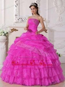Pink Ball Gown Strapless Floor-length Organza Appliques Quinceanera Dress