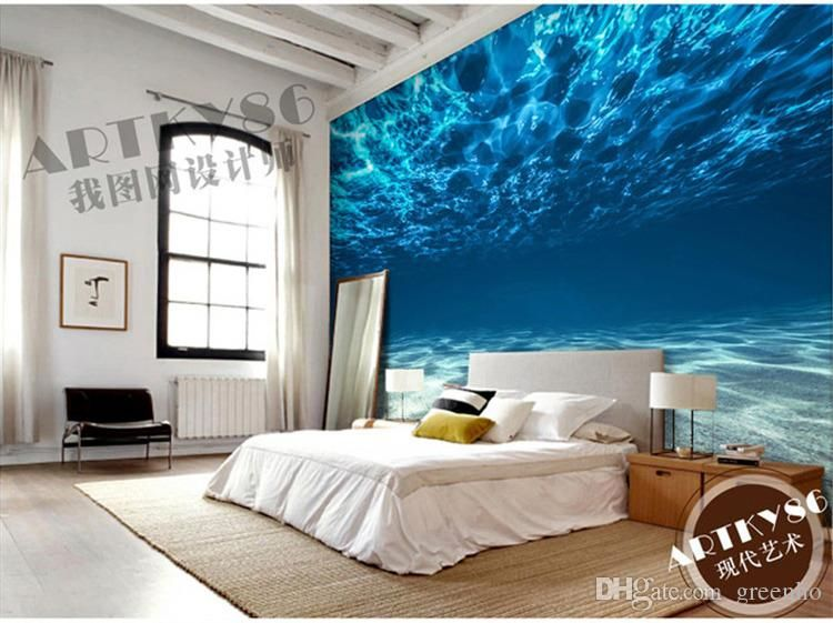 charming design red wall bedrooms | Charming Deep sea Photo Wallpaper Custom Ocean Scenery ...