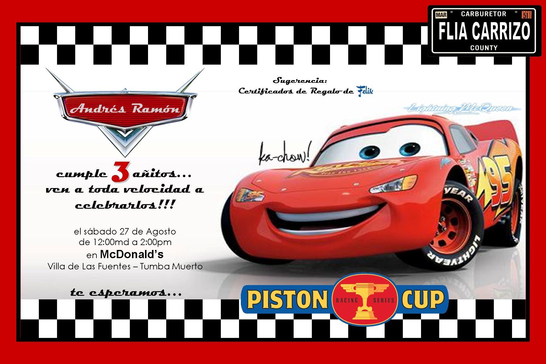 Invitaciones De Cumpleaños De Cars En Hd Gratis Para