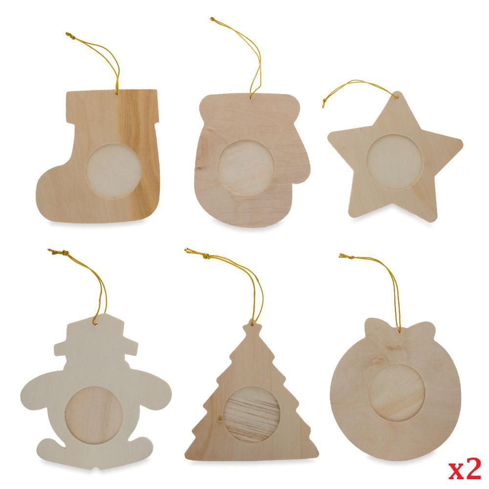 Set of 12 DIY Unfinished Wood Picture Frame Christmas Ornaments ...