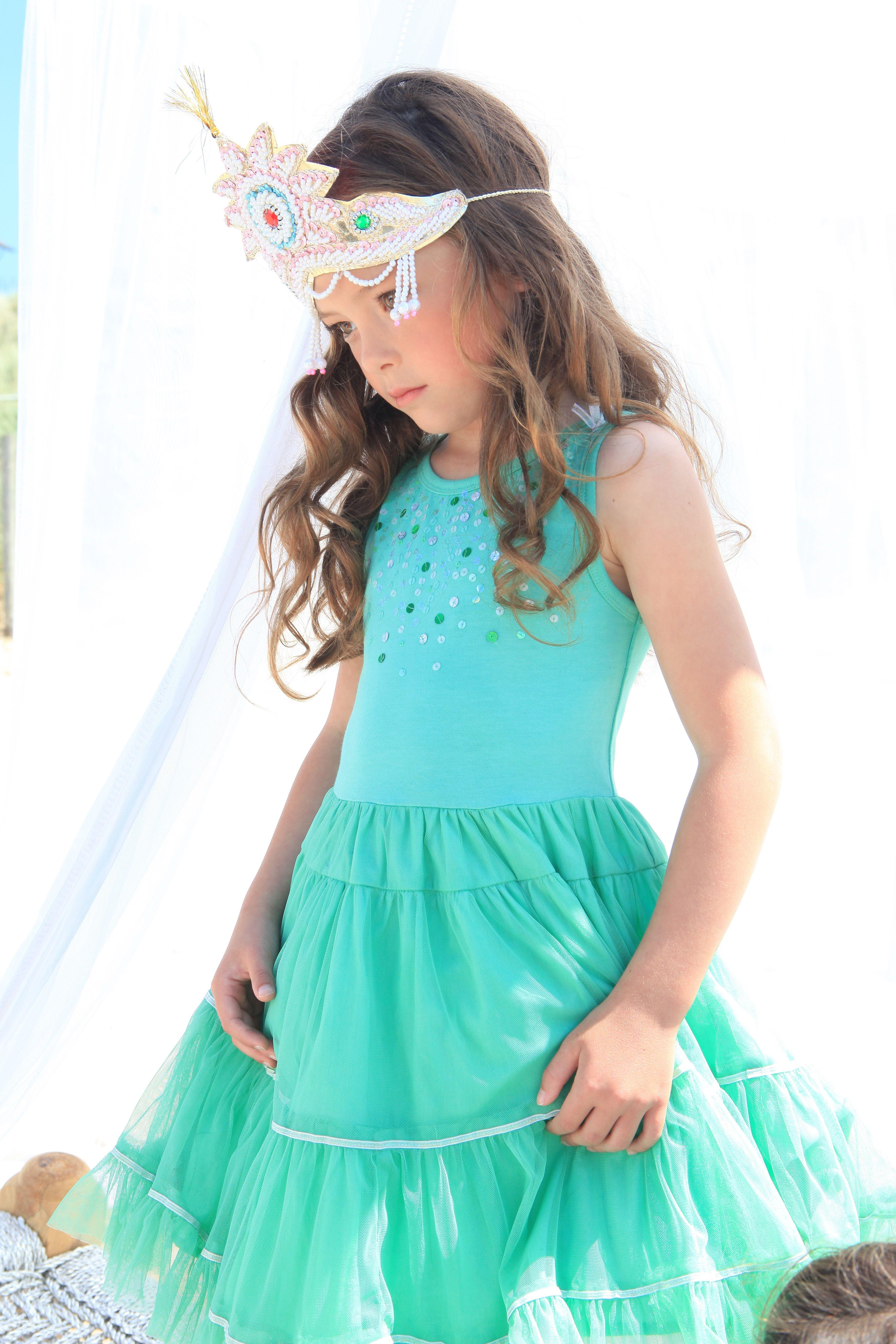 Beautiful green MIM PI princess mimpi cute green dress kids